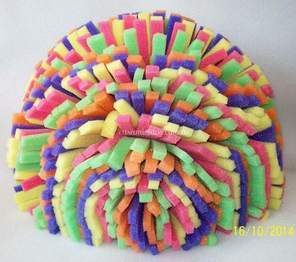 Peluca ochentosa multicolor de Fiesta Loca