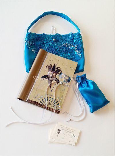 Libro, bolsas y tarjetas 3d