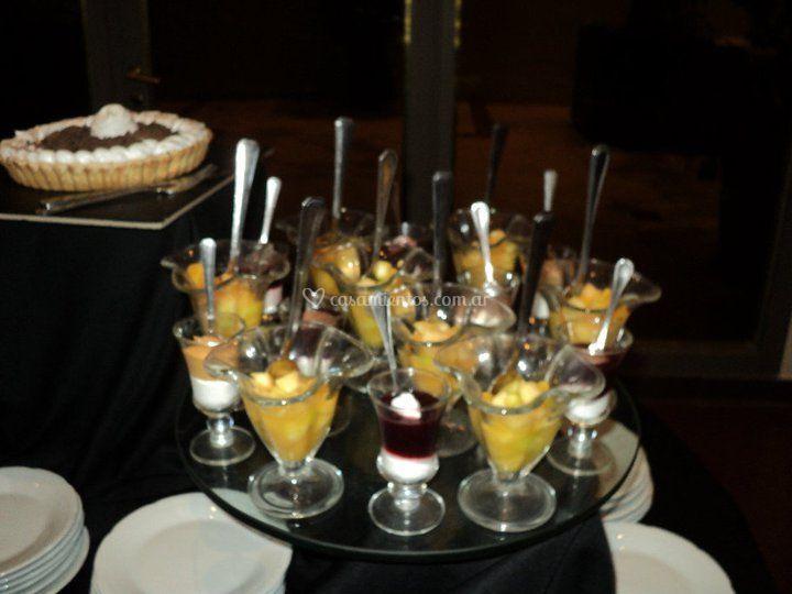 Copas en mesa dulce
