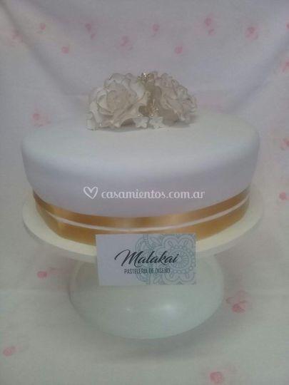 Torta bodas en tonos dorados