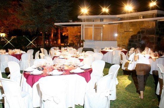 Mesas en el parque de Villa Clarinda