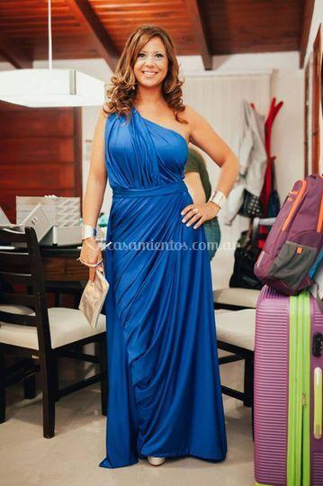 Vestido drapeado azul