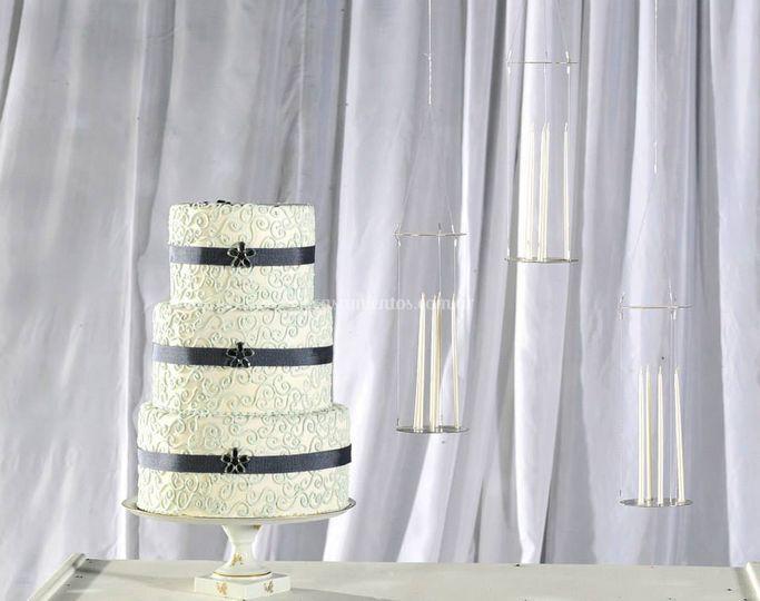 Torta de 15 con velas flotante