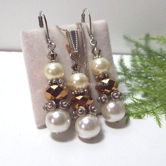 Conjunto perlas y cristal
