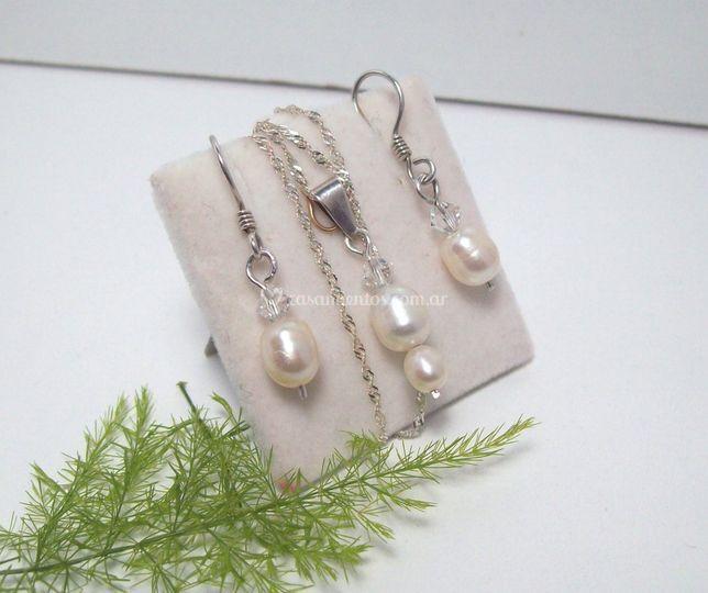 Set perlas de río y Swarovski