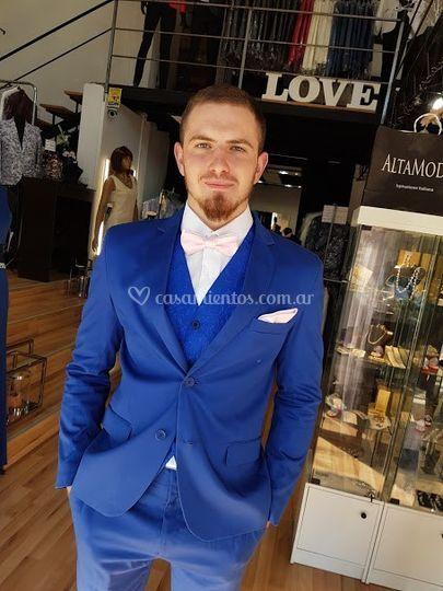 Ambo azul francia elastizado