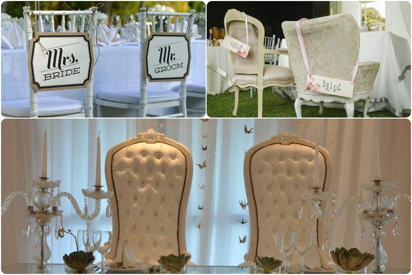 Ideas para decorar la mesa de los novios for Sillas para novios en la iglesia