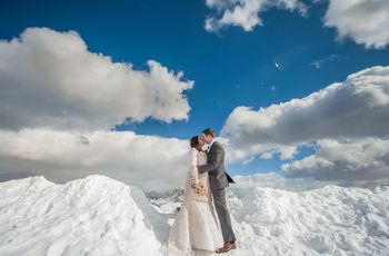Kim y James: una boda de ensueño entre la nieve y las nubes