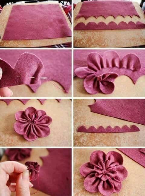 Flores de tela paso a paso for Manualidades con tela paso a paso