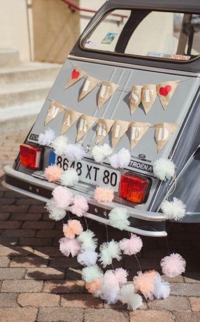 Ideas para decorar el auto el día de la boda 20