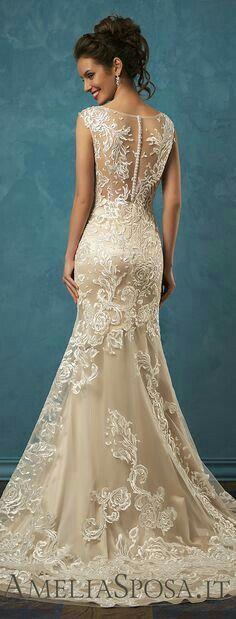 Vestidos de novia color champagne cortos