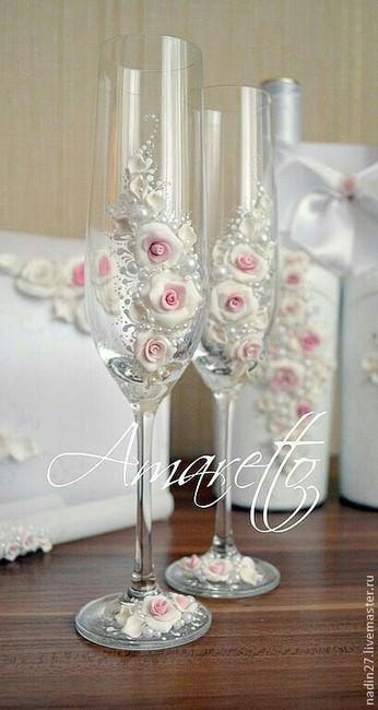 Copas decoradas para el brindis