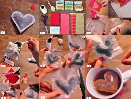 Saquitos de té corazón