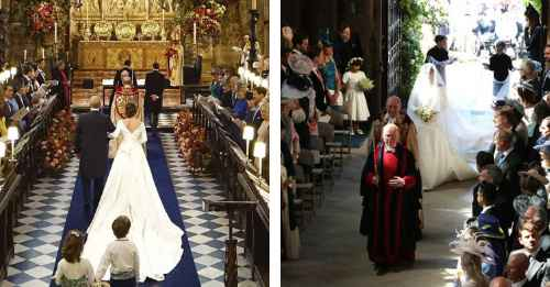Entrada a la iglesia de Eugenia de York y Meghan Markle