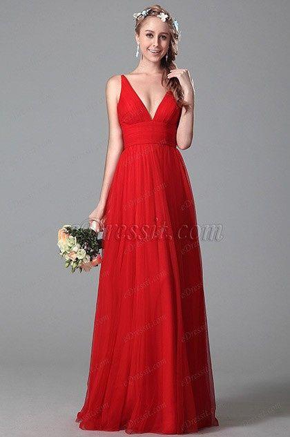 Vestido Damas De Honor Rojos