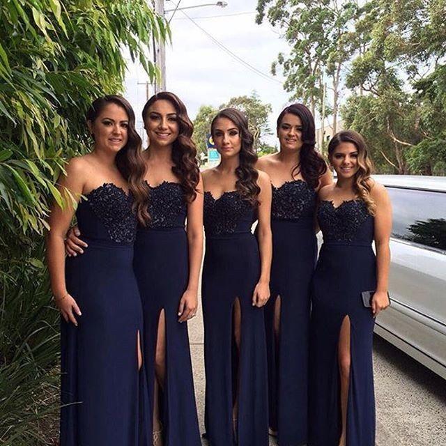 Vestido Damas De Honor Azules