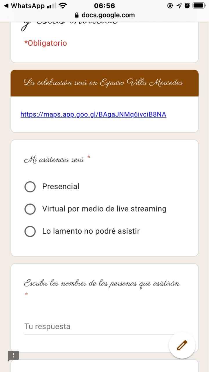 Google form para invitación? - 2
