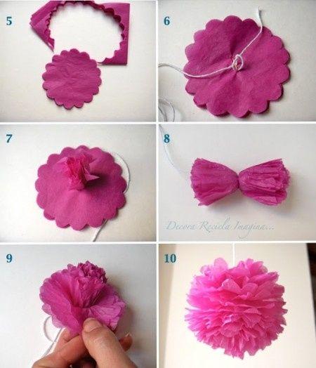 Pompones de papel super faciles - Como hacer pompones para decorar fiestas ...