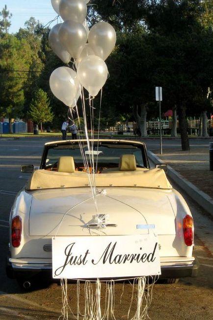 Ideas para decorar el auto el día de la boda 1