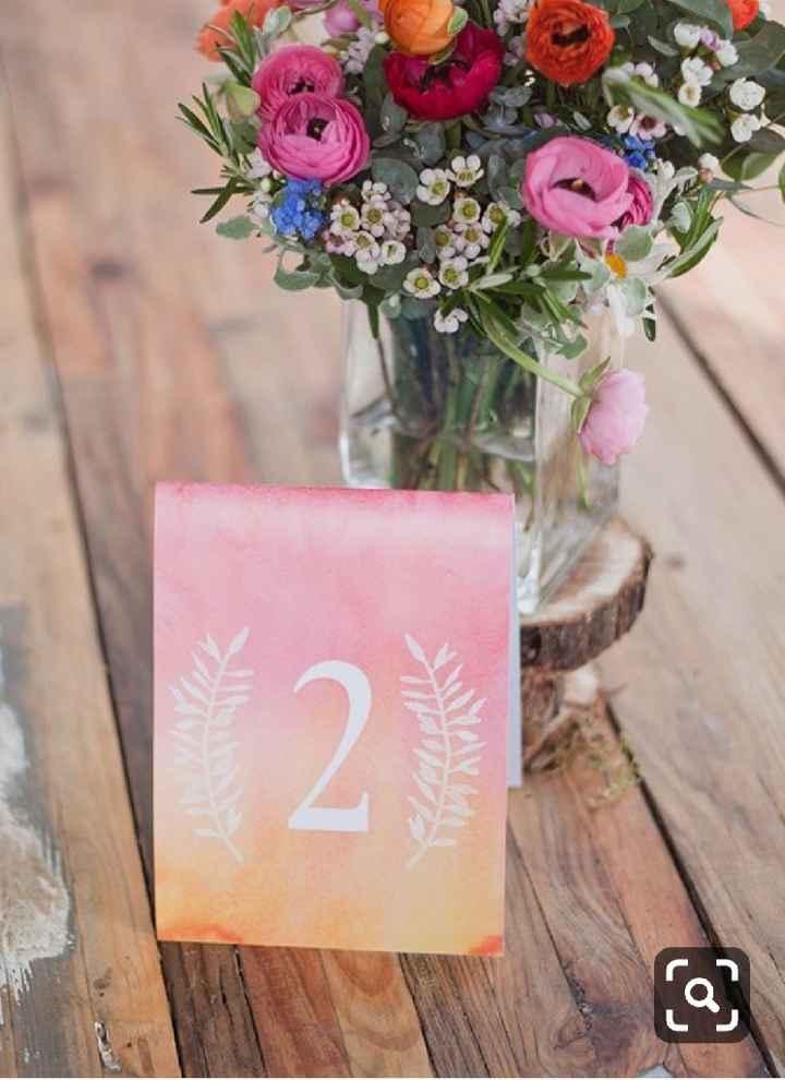 Números de mesa en color rosa - 1