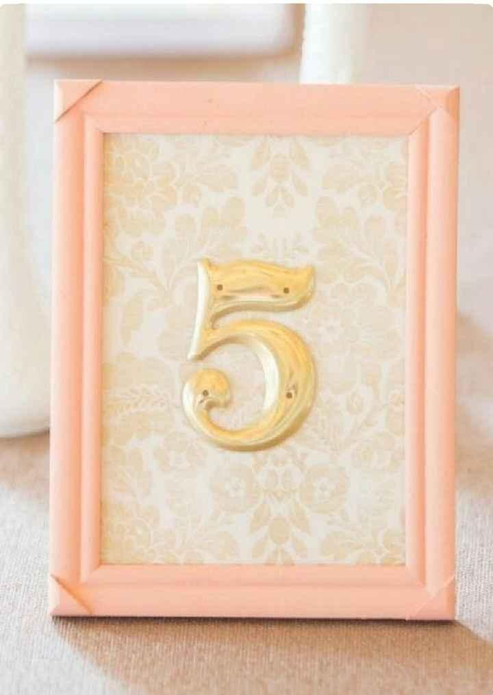 Números de mesa en color rosa - 5
