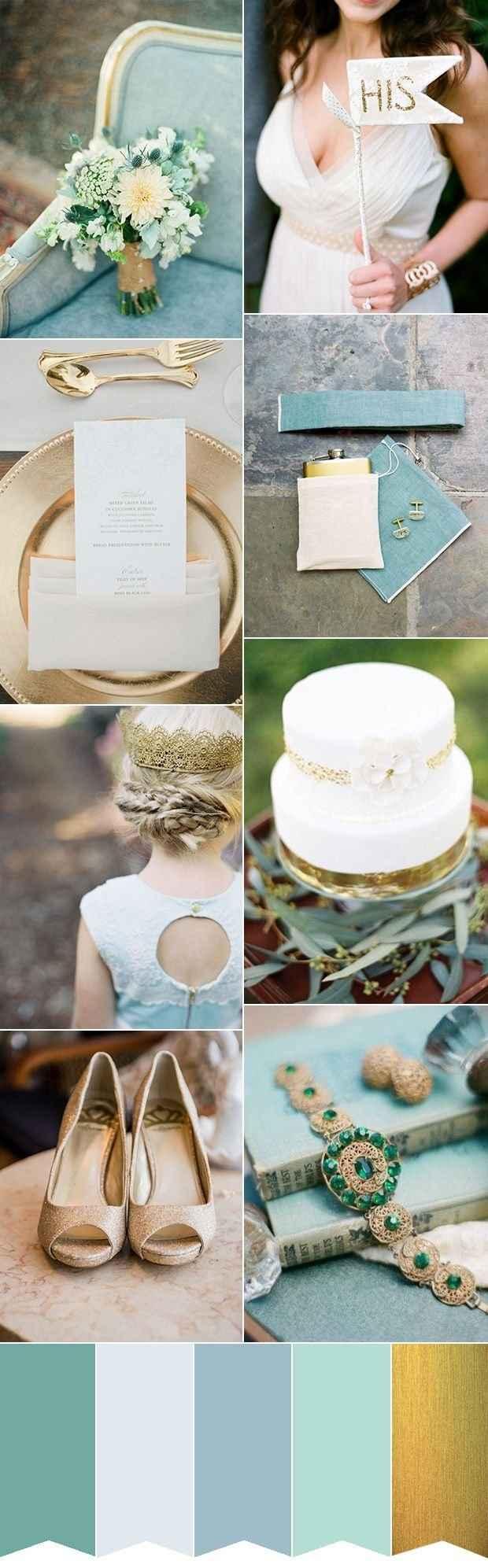 Deco en dorado, blanco y azul Tiffany