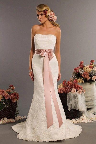 vestidos de novia con cinturón de color