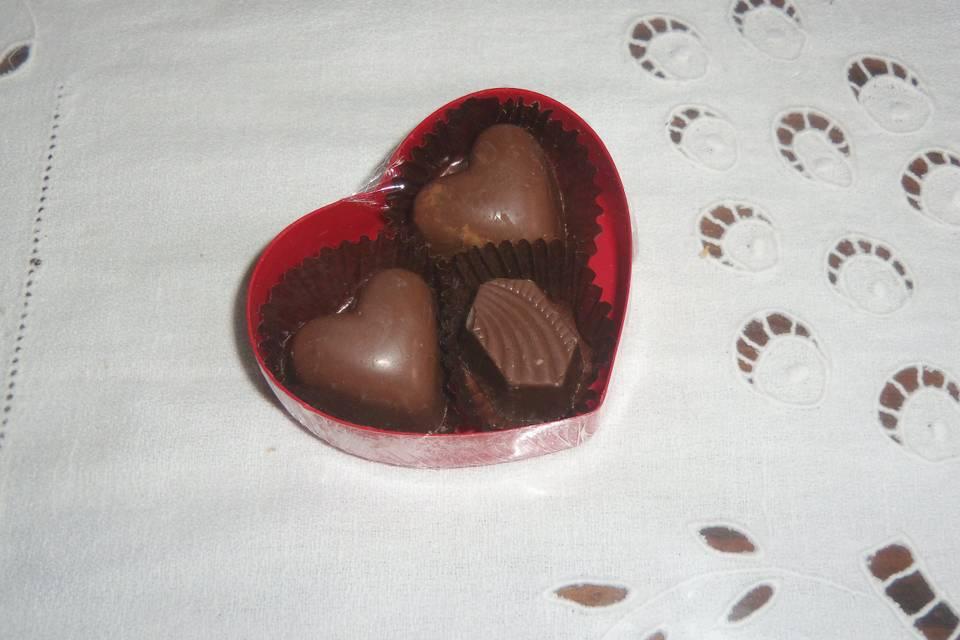 Bombones en corazón