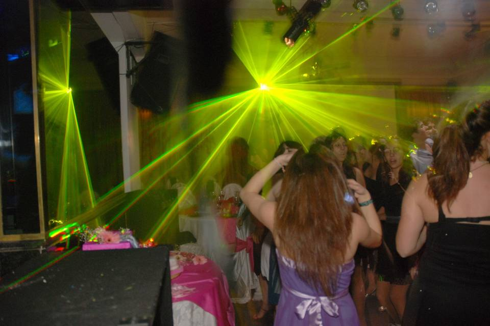 Pista de baile con laser