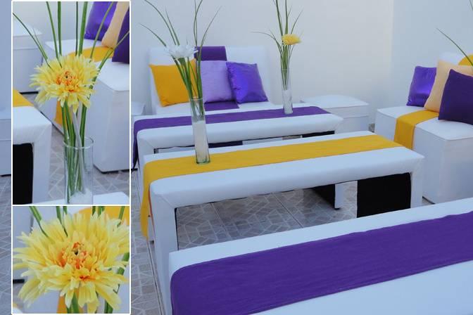 Decoración violeta y amarillo