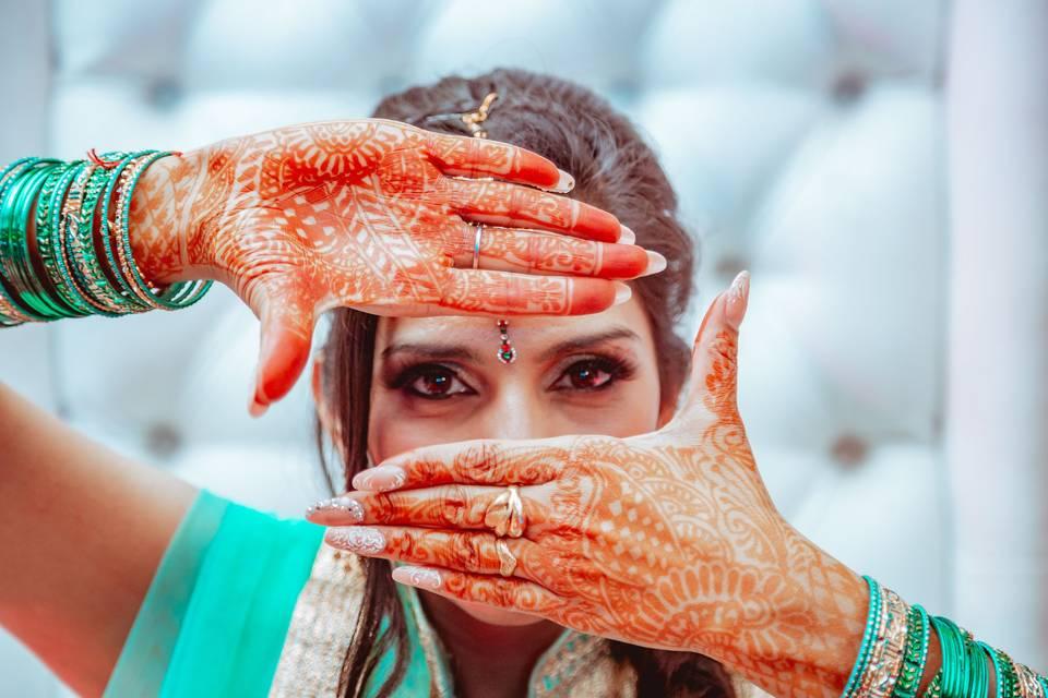 Novia Punyabi con henna